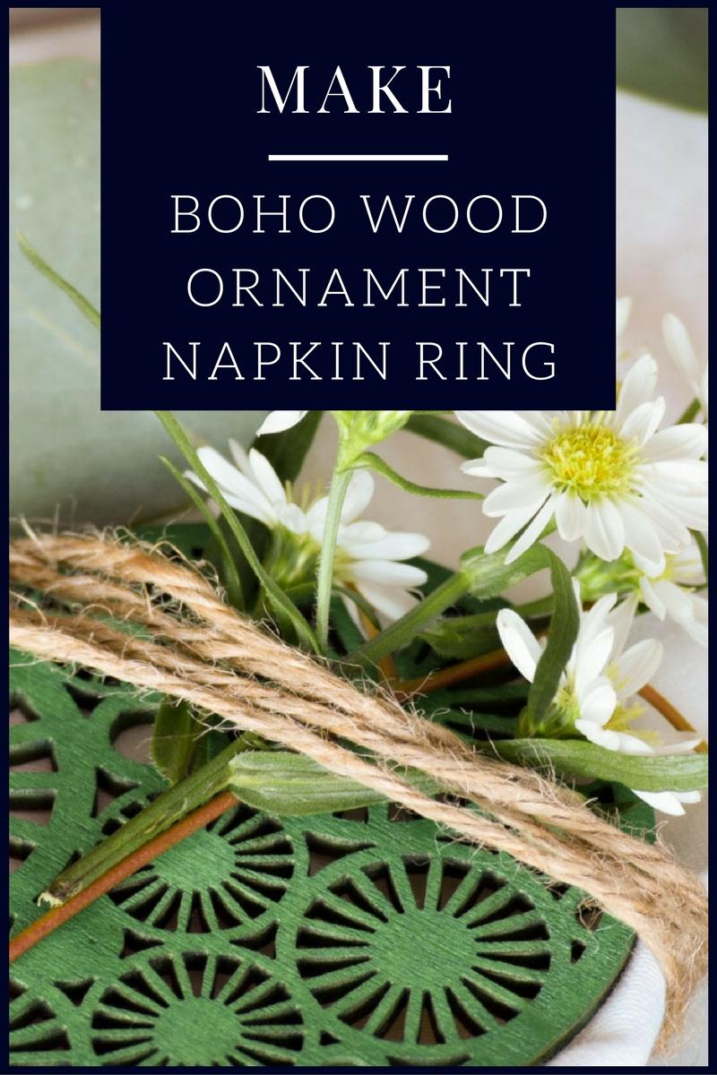 Boho Wood ornament made from mason jar lid cover