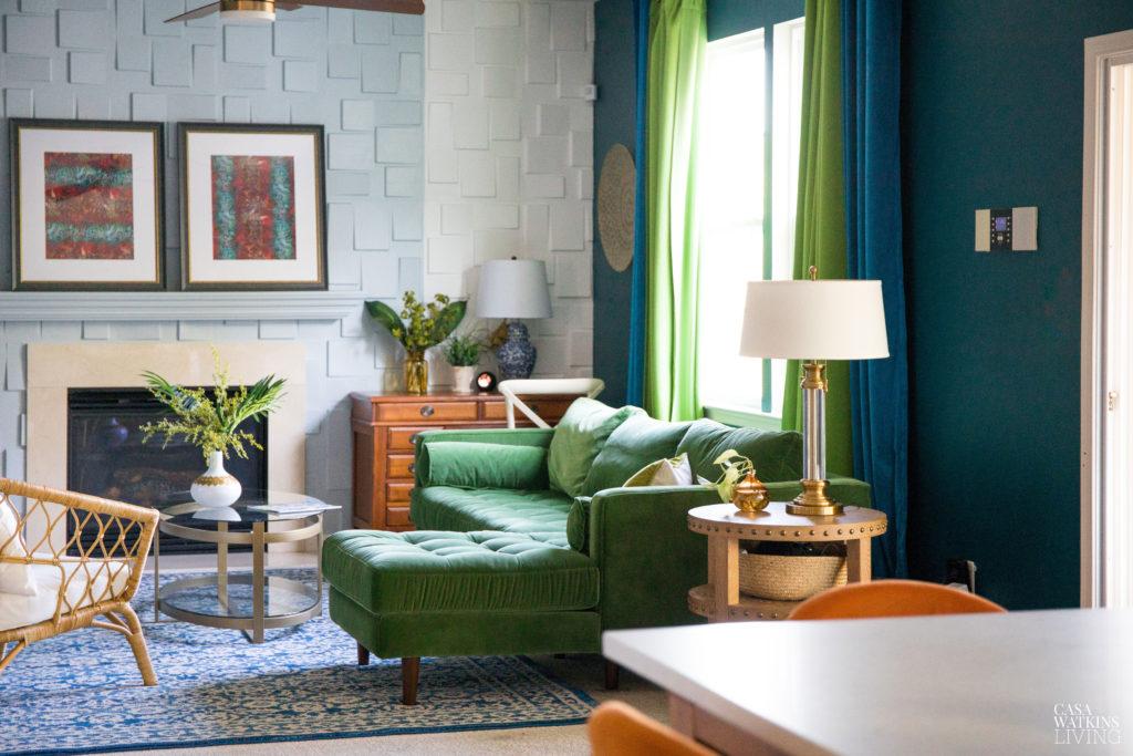 the green velvet sectional sofa for modern boho style